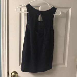 Athleta navy tank with cutout in back